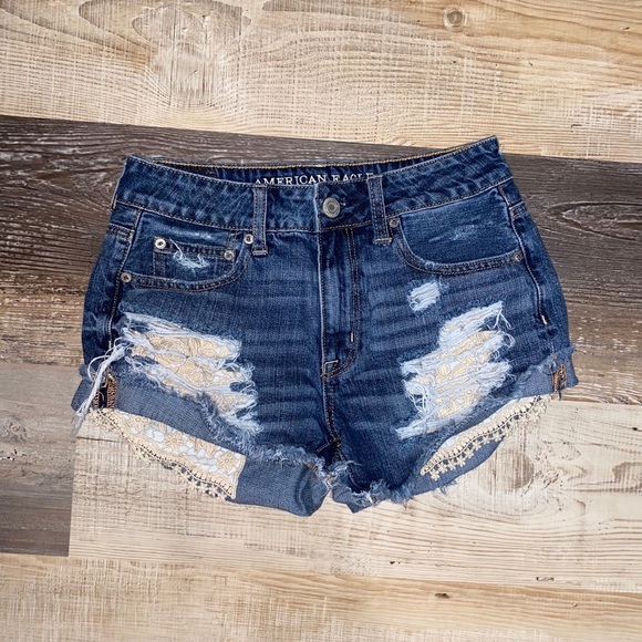 American Eagle Hi-Rise Festival Lace Ripped Shorts